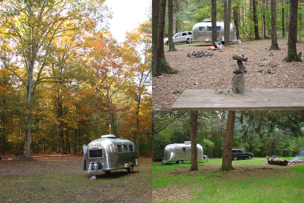 Collage of our 64 Airstream Globetrotter at Michaux State Park.